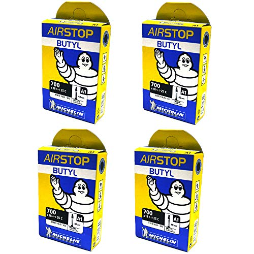 (Michelin Airstop PRESTA Valve 700 x 18-25C 40mm Bicycle Tube - 4 PACK - NEW IN BOX )