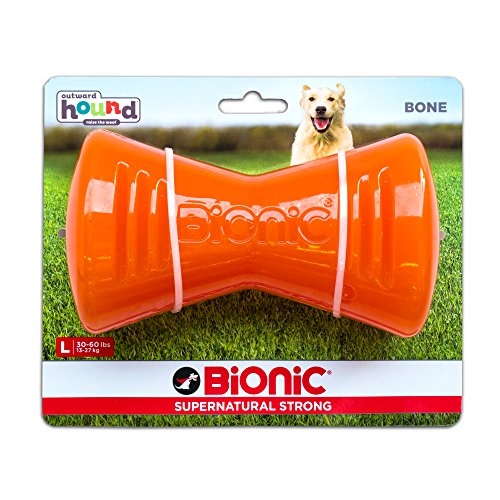 Tough Rubber Dog Bone, Durable Chew Toy for Large Dogs by Bionic, Large, Orange