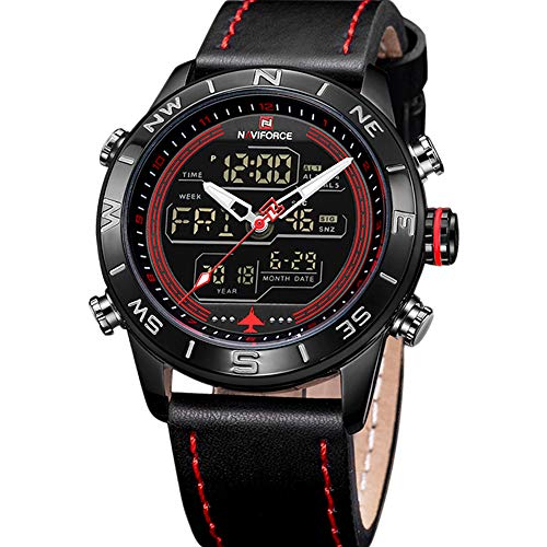 - NAVIFORCE Mens Waterproof Sport Watches Leather Digital Analog Watch Luxury Casual Dual Time Wristwatch