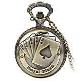 Avaner Antique Steampunk Engraved Royal Flush Poker Quartz Pocket Watch Pendant Necklace with 31 inch Chain