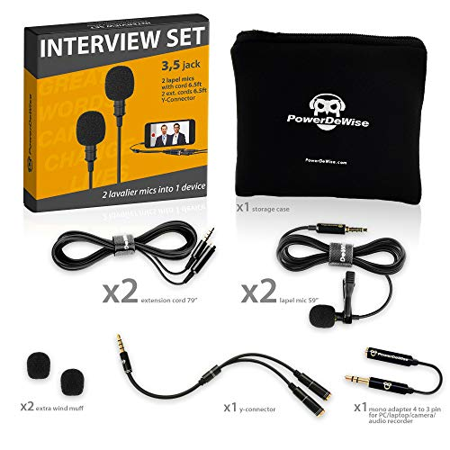 Professional Grade 2 Lavalier Lapel Microphones Set for Dual Interview