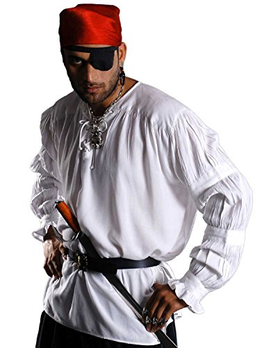 [Pirate Gothic Renaissance Medieval Costume Shirt (Large, White)] (Medieval Shirt Adult Costumes)
