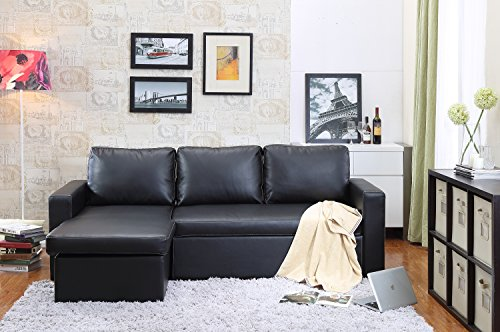 Bicast Leather 2 Piece - Georgetown Bi-Cast Leather 2-Pieces Sectional Sofa Bed with Storage in Black