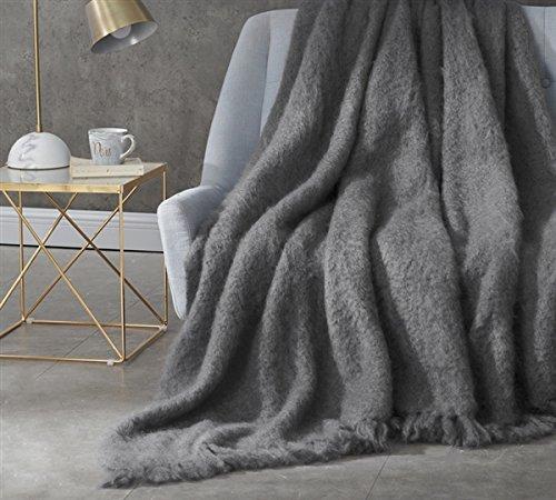 BYB Nama Karoo - Hand Brushed Kid Mohair - Throw Blanket - Goodnight Grey (Silken Blend) - Kid Mohair Throw