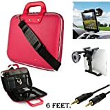 Pink Cady Executive Leather Hard Cube Carrying Case with Shoulder Strap For Barnes & Noble NOOK HD 7-inch Tablet + Auxiliary+ Windshield Car Mount