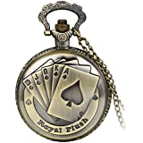 Avaner Antique Steampunk Engraved Royal Flush Poker Quartz Pocket Watch with 31 inch Chain