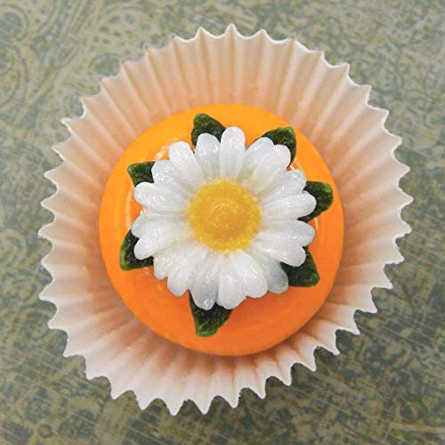 Handmade Art Glass Daisy atop a Mango Chocolate Petit Four Gift Home Décor