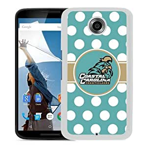 NCAA Big South Conference Coastal Carolina Chanticleers 9 White Fantastic Unique Cusstomized Google Nexus 6 Case
