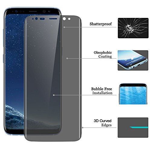 Josi Minea [ Samsung Galaxy S8+ ] 3D Curved Privacy Tempered Glass Screen Protector with Edge to Edge Coverage Anti Spy Ballistic LCD Cover Guard Premium HD Shield for Samsung (Premium Lcd Screen Protector)
