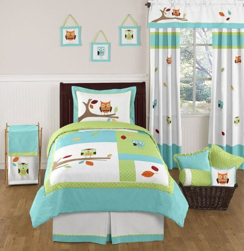Sweet Jojo Designs 4-Piece Turquoise and Lime Hooty Owl Childrens and Kids Boy or Girl Twin Bedding Set