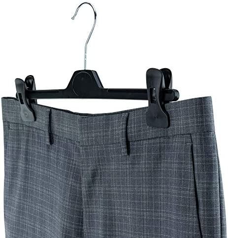 Hangerworld 25 Perchas 38cm Pl/ástico Negro con Pinzas Regulables para Faldas y Pantalones Armario