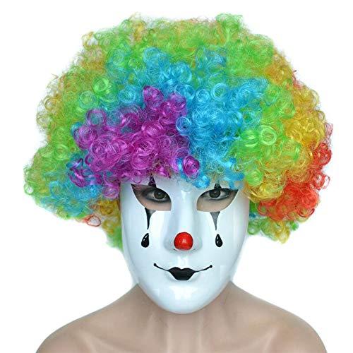 Nuoka Creepy Costume Clown Mask with Colorful Hair Clown Mask Halloween Cosplay Mask (Style B)]()