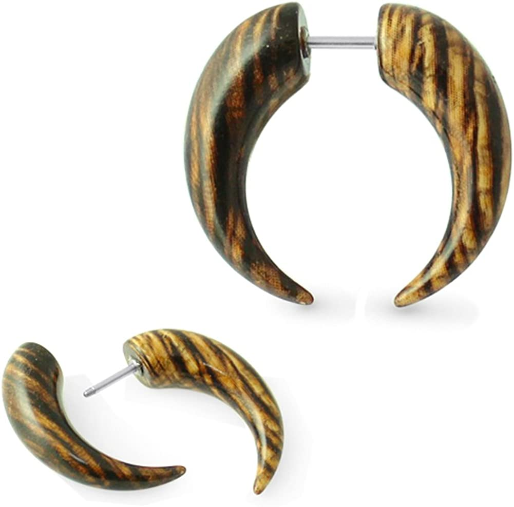 AtoZ Piercing Black and Brown Wood Pattern UV Acrylic CBR with 16 Gauge Surgical Steel Fake Ear Plugs