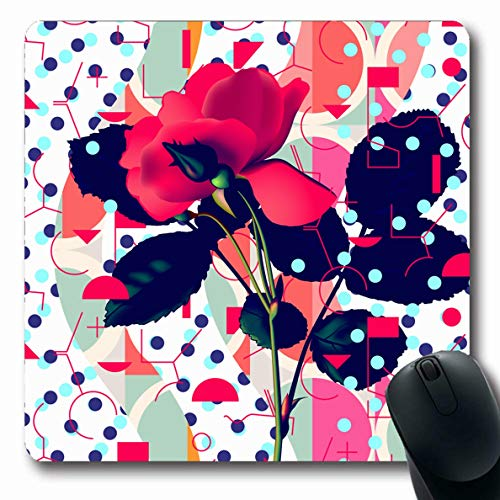LifeCO Computer Mousepad Flower Pink 90S Floral Pattern Red Rose Plant 80S Abstract Black Blossom Collage Design Mesh Oblong Shape 7.9 x 9.5 Inches Oblong Gaming Non-Slip Rubber Mouse Pad Mat