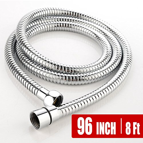 Flexible Extra Long Replacement Extension Hand Metal Handheld Shower Hose, Chrome (96 Inch) (8 Ft) (2.45 Meters)