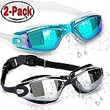 HOOLRO Lunettes de natation, lot de 2, lunettes de natation, lunettes de natation pour adultes Hommes Femmes Jeunesse Enfant, lunettes de protection anti-buee UV