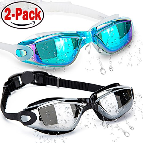 HOOLRO Swim Goggles, Pack of 2, Swimming Goggles,Swim Goggles for Adult Men Women Youth Kids Child, Anti Fog UV Protection Lenses