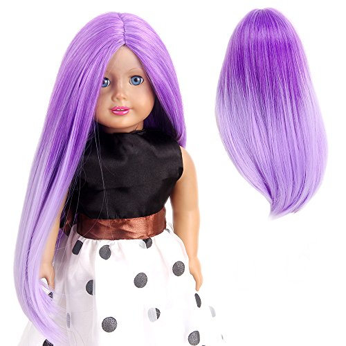 STfantasy American Girl Doll Wigs Ombre Purple Long Straight Two Tone Hairpiece for 11