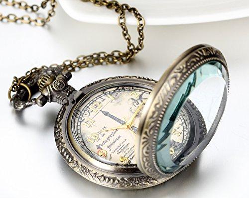 JewelryWe Retro Vintage Pocket Watch Bronze Eiffel Tower Quartz Pocket Watch Necklace Pendant Birthday Gift by Jewelrywe (Image #1)