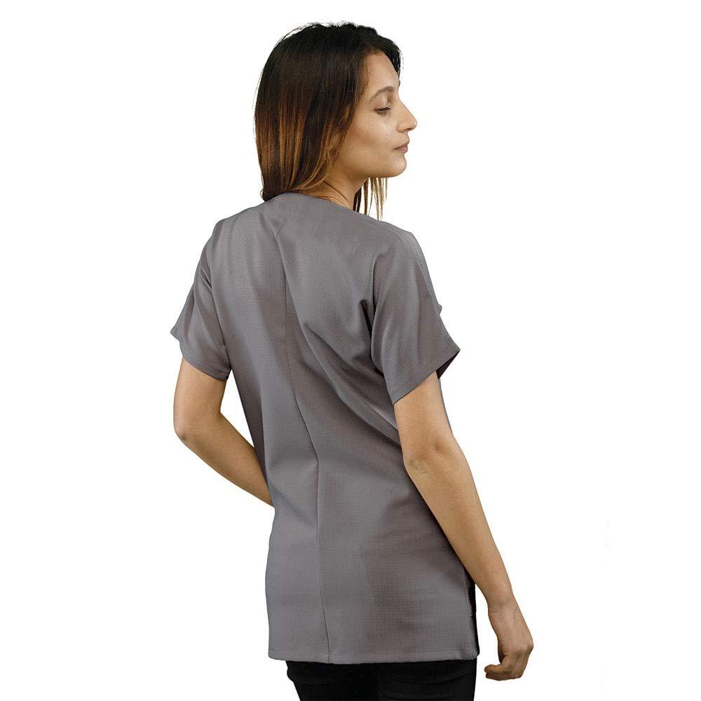 Hurry Jump Blouse de Travail Courte Id/éale Blouse m/édicale et Blouse esth/éticienne Manches Courte Forme Kimono 3 Poches Tissu Infroissable.