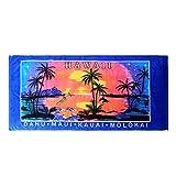 Hawaii Beach Towel 100% Cotton 60x30 Blue Palms Sunset Surfer Diamond Head