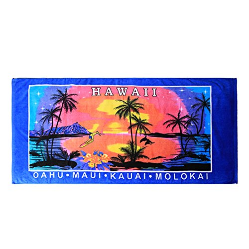 Hawaii Beach Towel 100% Cotton 60x30 Blue Palms Sunset Surfer Diamond Head ()