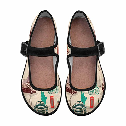 Casual Multi Mary Shoes 13 Womens Jane InterestPrint Comfort Walking Flats afnfBx