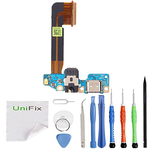 Unifix Charging Dock USB Port Replacement Parts with Microphone Connector Headphone Jack Assembly for HTC One M9 + Toolkit (Sprint Note 3 Motherboard)