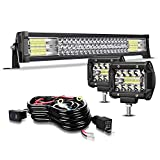 TURBO SII 20/22' LED Light Bar Triple Row 306W Flood Spot Combo Beam Led Bar W/ 2Pcs 4in 60W Off Road Driving Fog Lights with Wiring Harness-3 Leads for Jeep Trucks Polaris ATV Boats Lighting