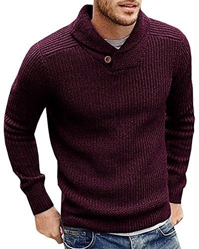 (Runcati Mens Sweaters Shawl Collar Slim Fit Pullover Fall Winter Casual Knit Ribbed Coat Wine Red)