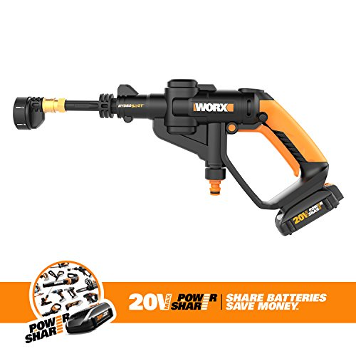 Worx Cordless Hydroshot Portable Power Cleaner, 20V Li-ion (2.0Ah), 320psi, 20V Power Share Platform with Cleaning Accessories WG629.1
