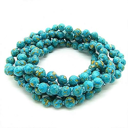(Gem Stone King 48inches Endless 6mm Simulated Turquoise Howlite Strand Beaded Bracelet or Necklace)