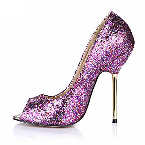 de Zapatos Abierta CHMILE Bombas Aguja Tacon Metálico Morado para glitter Alto de Sexy Vestido Punta Chau Mujer de Fiesta FqqaOx5
