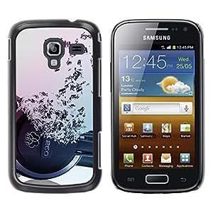 Caucho caso de Shell duro de la cubierta de accesorios de protección BY RAYDREAMMM - Samsung Galaxy Ace 2 I8160 Ace II X S7560M - Headphones Music Symbol Love Ears Notes