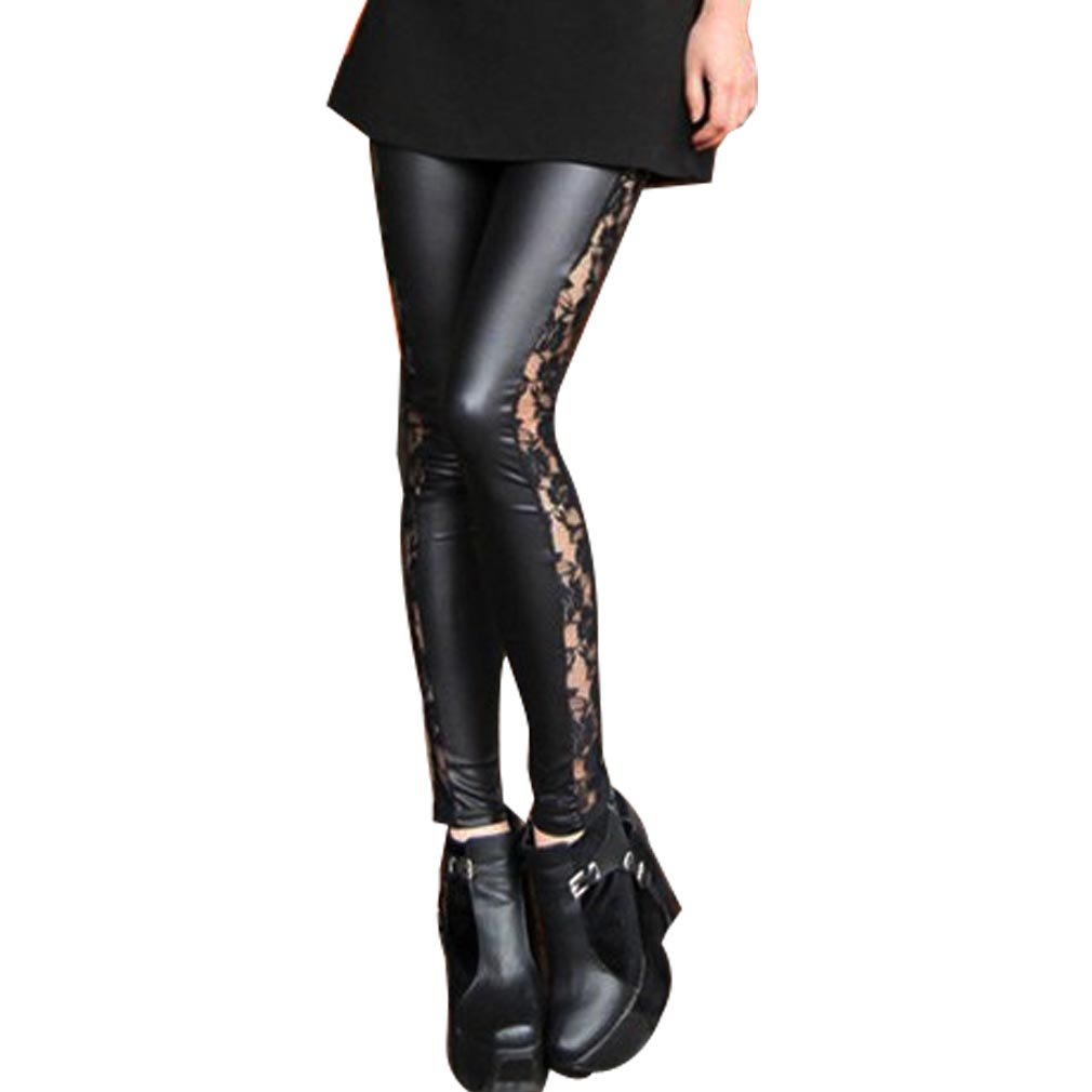 c832df3e1c26 Womens Black Leggings Lace Shiny Gothic Leather Wet Look Pants Jeggings  Tights  Amazon.co.uk  Clothing