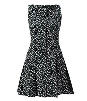 c872a1a4010 Womens Black Ditsy Floral Button Front Tea Dress  Amazon.co.uk  Clothing