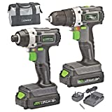 Genesis GL20DIDKA2 20V Lithium‐Ion Drill/Impact Driver Variable Speed Cordless Power Tool Combo Kit, with Storage Bag, Battery Charger, and Phillips Head accessory bit
