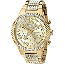 GUESS Women's U0850L2 Sporty Gold-Tone Watch with Champagne Dial , Crystal-Accented Bezel and Stainless Steel Pilot Buckle