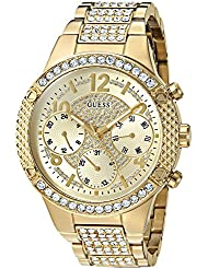 GUESS Womens Stainless Steel Crystal Accented Watch, Color: Gold-Tone (Model: U0850L2)
