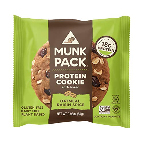 Munk Pack Oatmeal Raisin Spice Protein Cookie with 18 Grams of Protein | Soft Baked | Vegan | Gluten, Dairy and Soy Free | 6 Pack