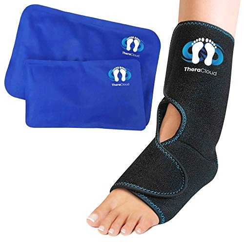 Ice Pack Foot Ankle Wrap Brace w/ 2 Cold Hot Gel Pads Pain Relief From Achilles Tendonitis Support Treatment , Tarsal Tunnel Syndrome , Plantar Fasciitis , Bursitis , and Tendon Injuries -TheraCloud