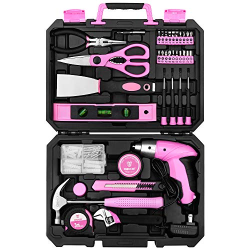 DEKO Pink 98 Piece Tool Set,General Household Hand Tool Kit with Plastic Toolbox Storage Case