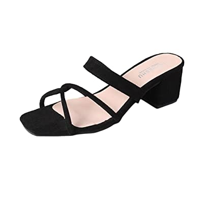 4ca0007a40 Slippers for Women Jamicy Summer Sandals Women Girls Suede Leather Cross  Frenulum Middle Heel Casual Shoes