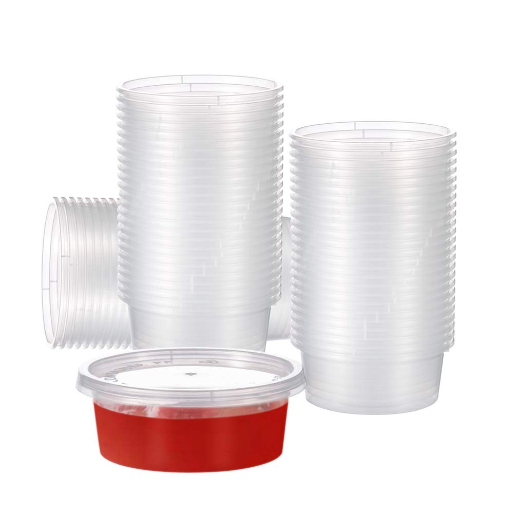 OTOR 100 Sets - 3 oz Plastic Portion Cups with Lids, Souffle Cups, Jello Shot Cups Disposable Portion Condiment Cups by OTOR