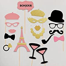 Paper Gala Bachelorette Hen Party Paris France Pink Gold Theme Photobooth Props Wedding Shower Photo Booth Kit Set of 18 Pieces Gold Pink Collection