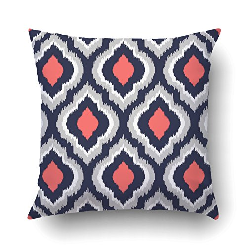 Emvency Pillowcases Dec Gray Coral Pink And Navy Blue pattern Printing Cushion Cover Throw Pillow Cases Square 18x18 Inches ()
