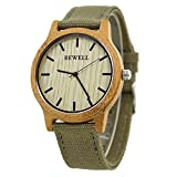Bewell Casual Mens Wood Watches Round Case Quartz Movement Canvas Strap