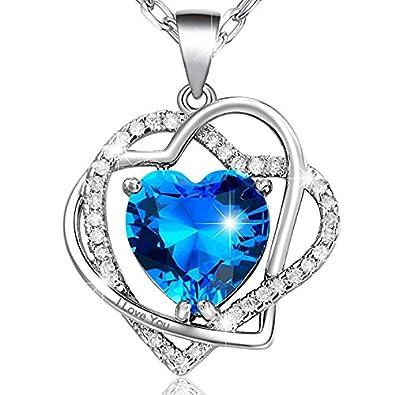 1226e5c7423b Marenja Collar Mujer de Moda-Colgante Doble Corazón Entrelazado con Cristal  Azul de Corte Corazón Grabado I Love You-Joya Chapada en Oro Blanco con  Cristal  ...