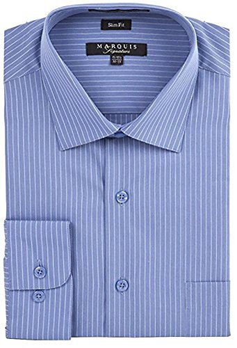 Marquis Men's Pin Striped Slim Fit Long Sleeve Button Down Collared Dress Shirt, X-Large 17.5 34/35, Blue ()