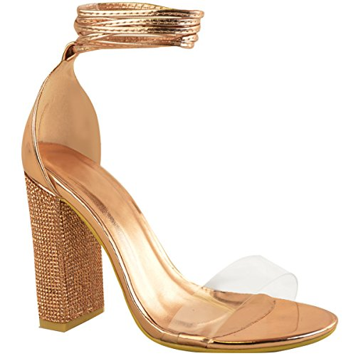 Metallic Block Diamante Size Party High Gold Sandals Perspex Heels Clear Sparkle Womens Ladies Rose OacWf6